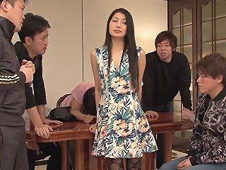 Wild Brunette Japanese Cutie Having Her First Gangbang Bukkake