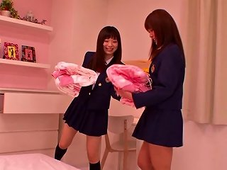 Busty Japanese Amateurs With Small Tits In Uniform Smashing Their Hairy Pussy With Vibrator